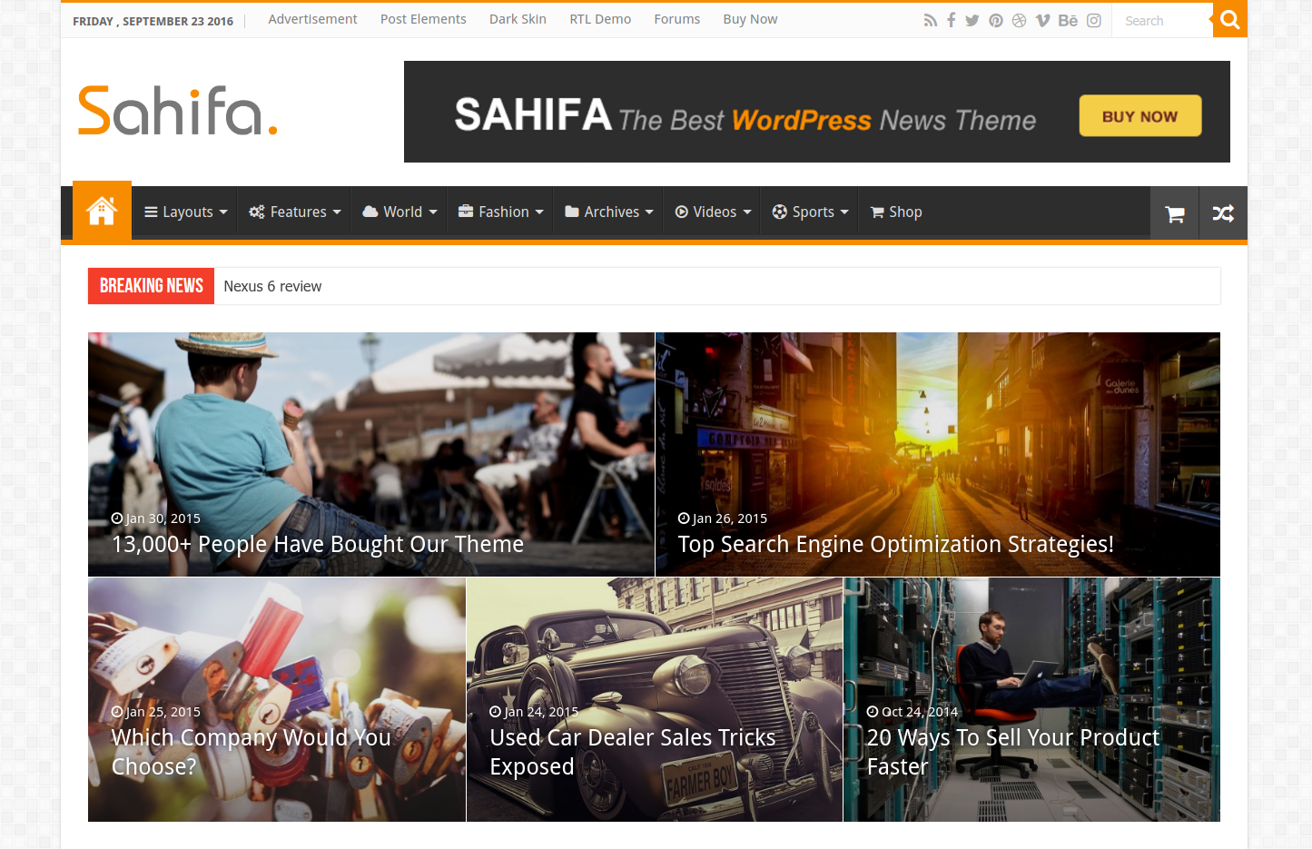 Sahifa Responsive Wordpress Theme